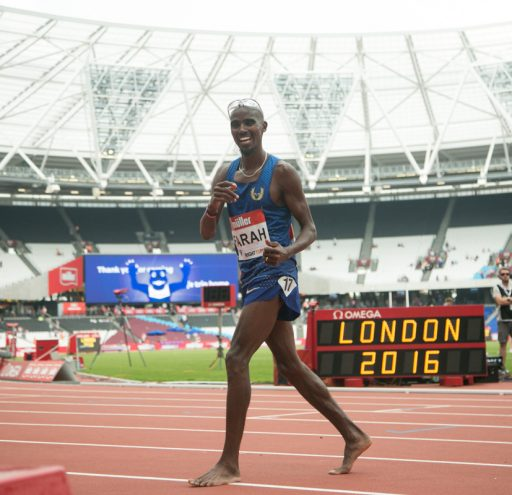 Mo Farah wins the mens 5000m while lapping other competitors at the Muller Anniversary Games in London UK. 23/07/2016