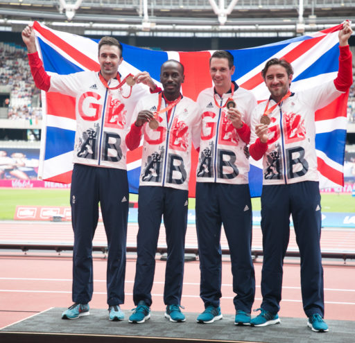 The Mens Relay Team ( Andrew Steele, Robert Tobin, Michael Bingham and Martyn Rooney ) from Team GB are awarded Bronze Medals from the Beijing Olympics after Russias's Disqualification at the Muller Anniversary Games 2017, at the Queen Elizabeth Oympic Pa