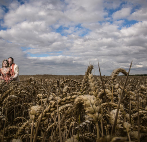 Wheatfield Wedding Portrait
