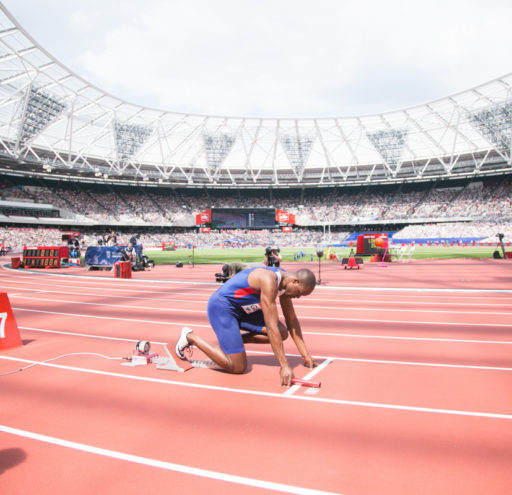 James Dasolu getting ready to compete in the mens 4x100 relay at the Muller Anniversary Games in London UK. 23/07/2016