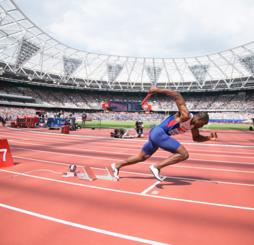 James Dasolu competing in the mens 4x100 relay at the Muller Anniversary Games in London UK. 23/07/2016