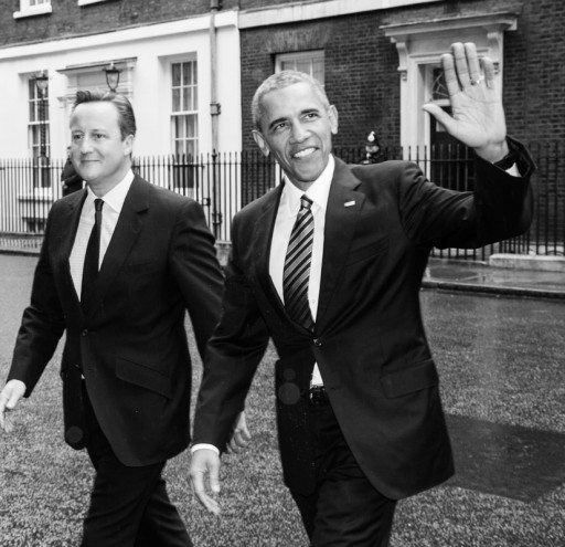 American President Barak Obama visits UK Prime Minister David Cameron at Downing Street in London, UK