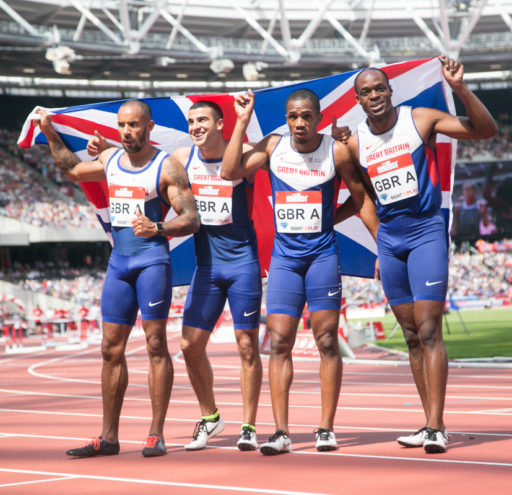Team GB mens 4x100 relay win first and second in relay at the Muller Anniversary Games in London UK. 23/07/2016