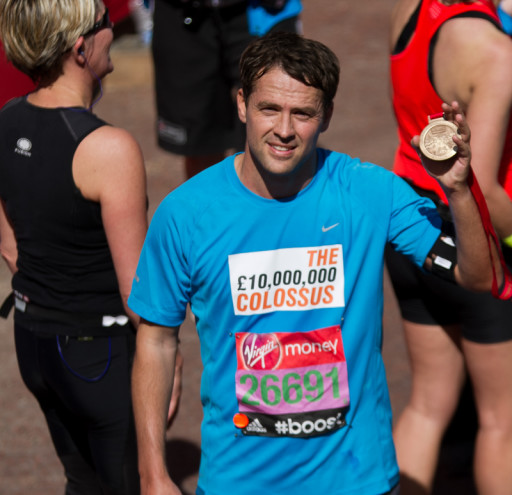 Michael Owen finishing 2014 London Marathon