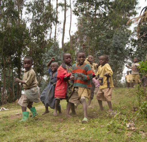 Children in Rwandan Mountains