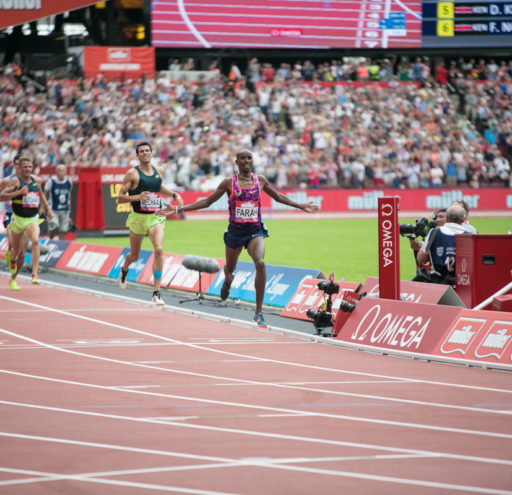 Mo Farah Winning the mens 3000m at the Muller Anniversary Games 2017 as he winds down his competitive career, at the Queen Elizabeth Oympic Park, in London UK