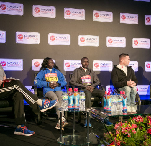 London Marathon Winners Mary Keitany, Daniel Wanjiru and David Weir