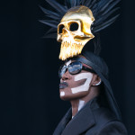 Grace Jones performing live on stage at Parklife 2015 in Manchester, true to her usual form Grace appears on stage bare chested wearing only body paint.