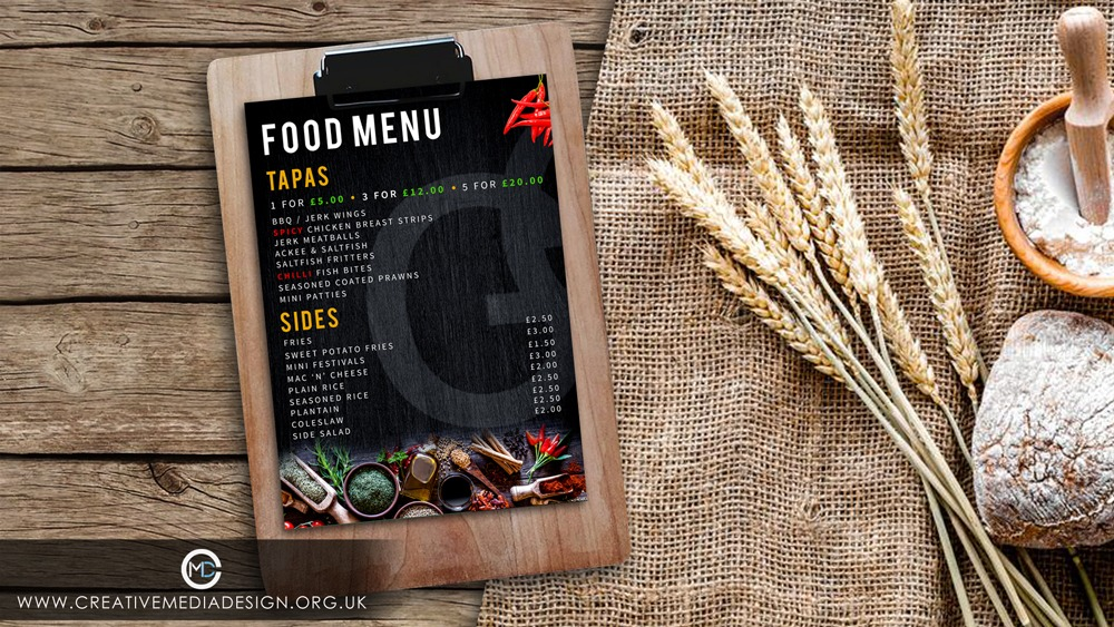 menu design, graphic design, website design birmingham