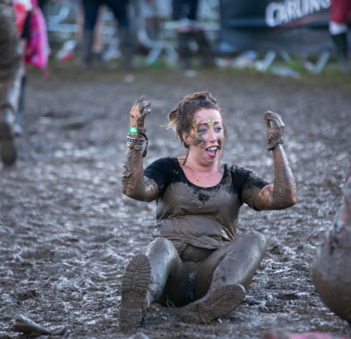 Festival goers get muddy at V Festival
